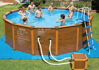 Round Above Ground Wood Effect Swimming Pool